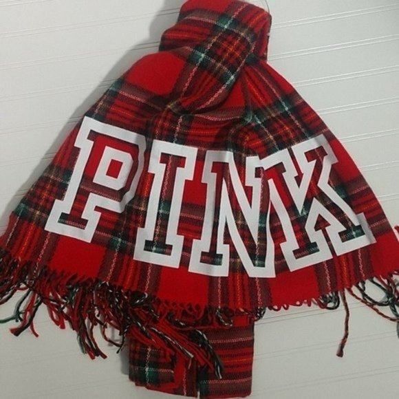 VS PINK Oversized Red Plaid Scarf NWT